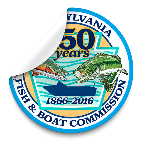 150th anniversary pa fish and boat commission logo 3 inch for Pa boat and fish commission